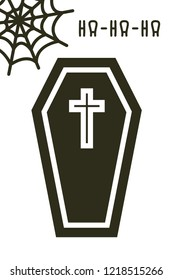 Halloween card. Flat coffin and net icon in black color on white background. Creative fun illustration.