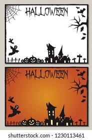 Halloween card frame illustration black and white and orange