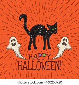 Halloween card with hand drawn black cat and ghosts on orange background. Vector hand drawn illustration.