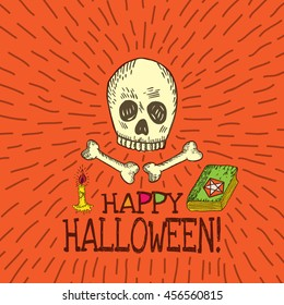 Halloween card with hand drawn skull, spell book and candle on orange background. Vector hand drawn illustration.