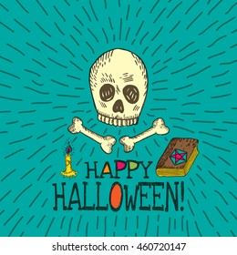 Halloween card with hand drawn skull, spell book and candle on turquoise background. Vector hand drawn illustration.