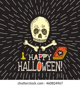 Halloween card with hand drawn skull, spell book and candle on black background. Vector hand drawn illustration.