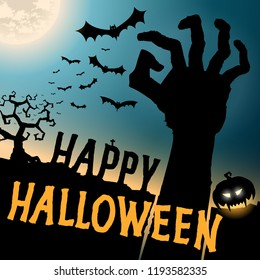 Halloween card with hand zombie, vector background template, Happy halloween party festive poster