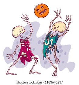Halloween card illustration. Couple of dead basketball player with pumpkin scary ball.