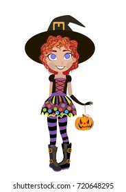 Halloween card. Little witch