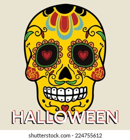 Halloween card with mexican skull