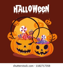 halloween card with pumpkin and candies