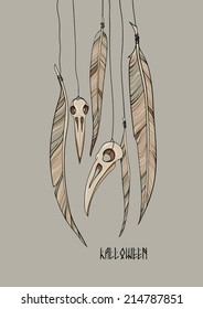 halloween card of raven's skulls and feathers