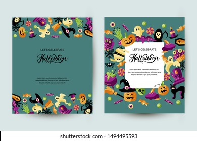 Halloween card set with celebratory subjects. Hand drawn lettering Halloween. Place for text. Flat style vector illustration. Great for party invitation, flyer, greeting card.