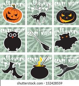 Halloween card set, vector design