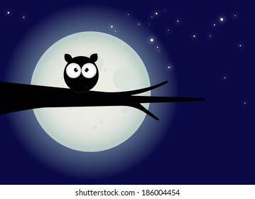 halloween card, silhouette of owl with large eyes sitting on a branch against a full moon and starry night sky