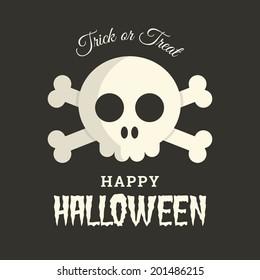 Halloween card with skull illustration vector