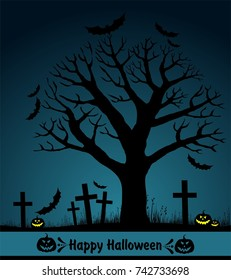 Halloween card with tree. Greeting background. Vector illustration