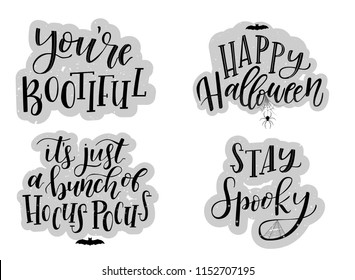 Halloween card typography and calligraphy design. set of 4 Halloween posters, banners, prints, backgrounds, stickers. Hand lettering textured  invitation concept. Vector illustration eps 10.