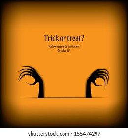 Halloween card vector illustration with scary hands and space for your text
