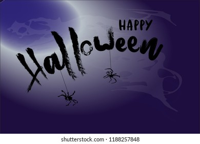 Halloween card. Vector illustration with spider and smoke. Lettering