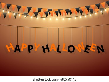 Halloween Carnival Background with Flags and light bulb