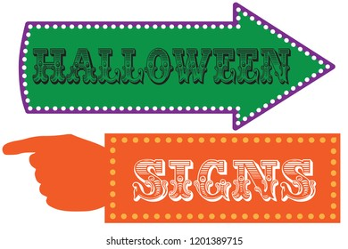 carnival sign template direction signs arrow stock vector royalty