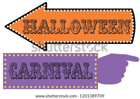 halloween carnival sign template direction signs stock vector