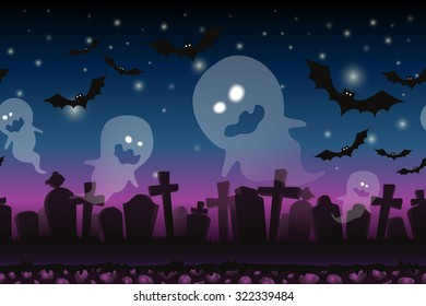 Halloween cartoon  background. Fantasy seamless landscape for Ui Game/ Illustration. Halloween banners with spooky graveyard and ghosts.