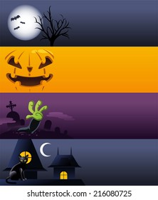 Halloween cartoon banner spooky designs