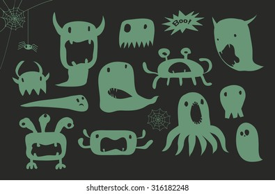 Halloween Cartoon Green Monsters - Doodle style illustration of simple gloppy gooey bogeymen
