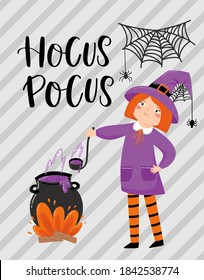 Halloween cartoon greeting card. baby girl in halloween costumes of witch, cauldron with potion, flags garland, copy space for your text, traditional holiday vector template