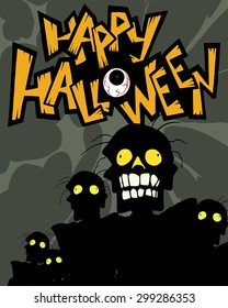 Halloween cartoon greeting card with a crowd of zombies
