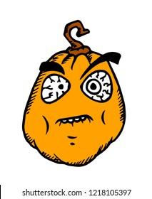 Halloween cartoon meme. Pumpkin with scary face on white.