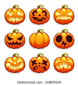 Halloween Cartoon Pumpkins Icons Set. In the EPS file each element is grouped separately.