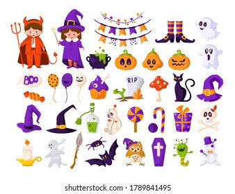 Halloween cartoon set - kids in halloween costumes of devil and witch, pumpkin, scary creepy characters - ghost, monster, bat, skull, voodoo doll, cat, traditional holiday symbols - isolated vector