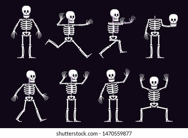 Halloween cartoon skeleton in different positions. Running skeleton with outstretched arms. Vector illustration.