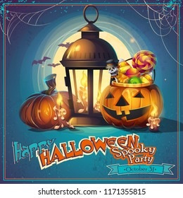 Halloween cartoon stylized vector illustration pumpkin, lantern and candles