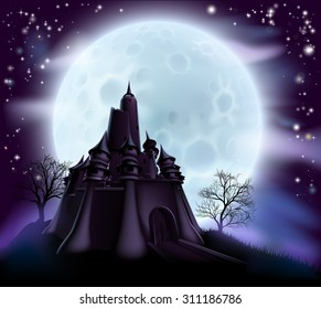 Halloween castle background with a spooky haunted castle and trees on a hill silhouetted against a full moon