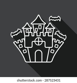 Halloween castle flat icon with long shadow, line icon