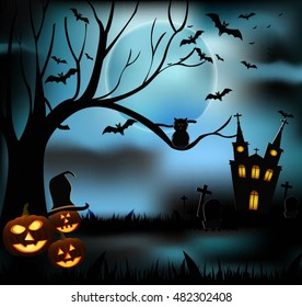 Halloween castle grave yard background with a spooky haunted castle, trees and graves and a full moon
