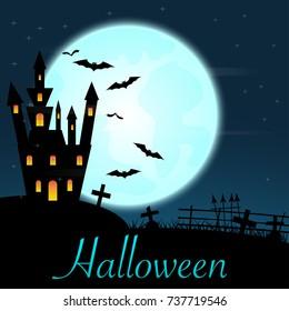 Halloween castle on blue moon background. illustration.