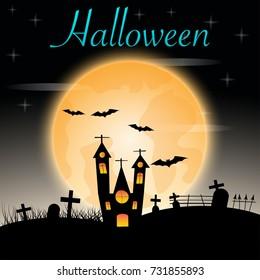 Halloween castle on red moon background. illustration.