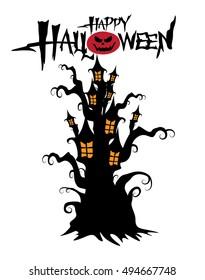 halloween Castle tree on white background.