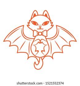 halloween cat mascot with bat wings vector illustration design