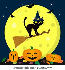 A Halloween cat in a witch hat flies on a broomstick, against a full moon at night. Three pumpkins of Halloween, sweets and leaves, volatile vampires and stars. Autumn holiday. Vector, flat style