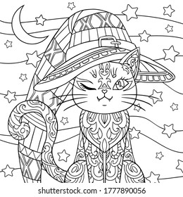 Cat Adult Coloring Pages High Res Stock Images Shutterstock