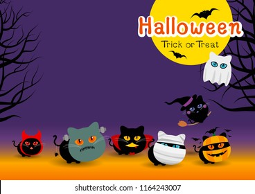 Halloween cats costume banner design with copy space vector illustration