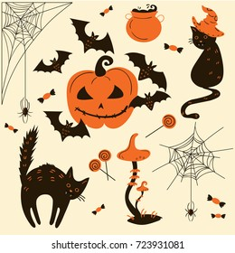 Halloween cats and pumpkins. Trick or treat object