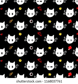 Halloween cats. Vector seamless pattern