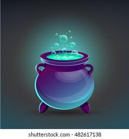 Halloween cauldron with potion. Vector illustration.
