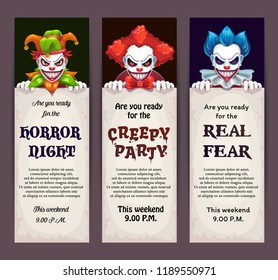Halloween celebration event banners with scary clown faces. Creepy party invitation tickets set. Vector scary night flyers design.