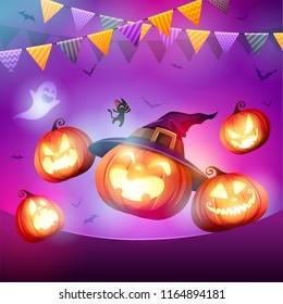Halloween Celebration Fun Party. Jack O Lantern party.