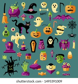Halloween celebratory subjects isolated on background. Flat style vector illustration set. Great for Halloween party props, greeting card, logo, stickers.
