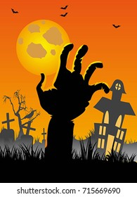 Halloween  cemetery background with hand, bats, tombs, moon